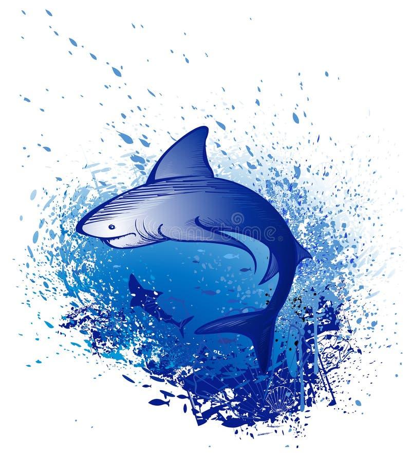 Emerge o tubarão branco ilustração stock