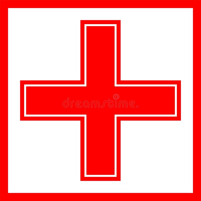 Emergencia, cruz, rojo, negro, marco y frameless libre illustration