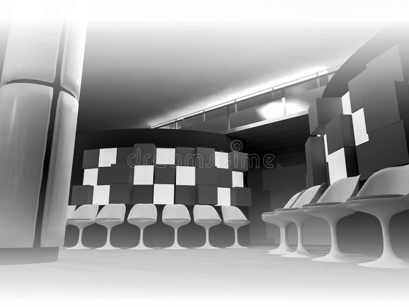 emergencia, sala de espera con las sillas en hospital, sitio limpio con ilustración del vector