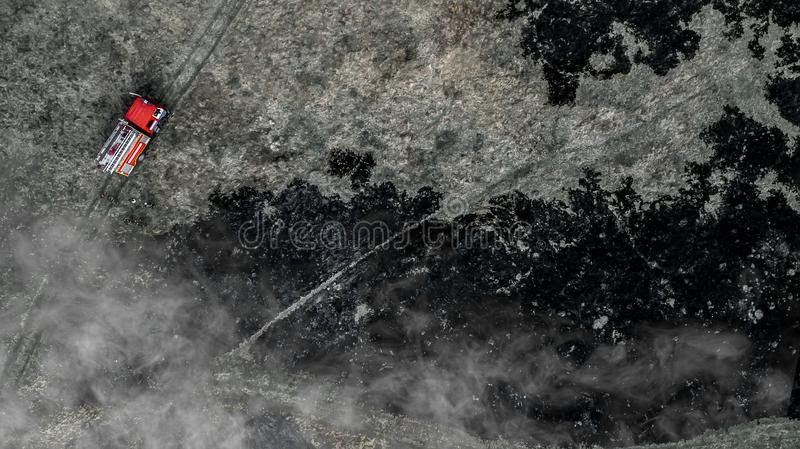 Emergencies in the field, fire burns dry grass with animals, death for all living things.  royalty free stock photo