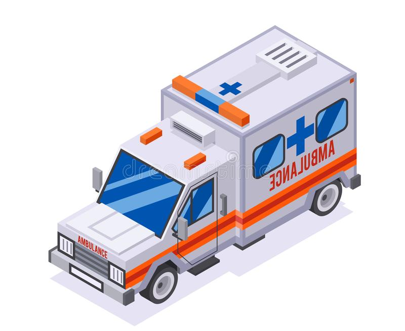 Emergency ambulance car isometric automobile van medicine transportation truck 3d retro lowpoly car isolated flat design. Emergency ambulance car isometric stock illustration