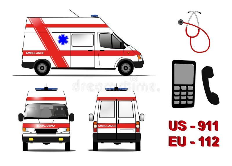 Emergency ambulance car stock illustration