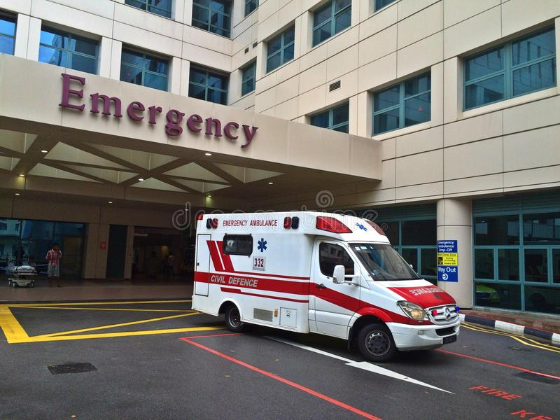 Emergency ambulance at emergency department royalty free stock images