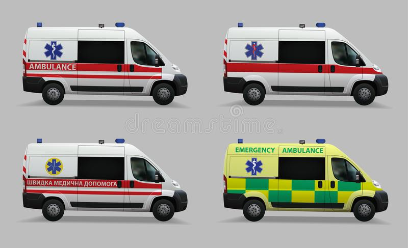 Emergency ambulance set. Special medical vehicles. Design of different countries of the world. Realistic image. Vector illustratio royalty free illustration