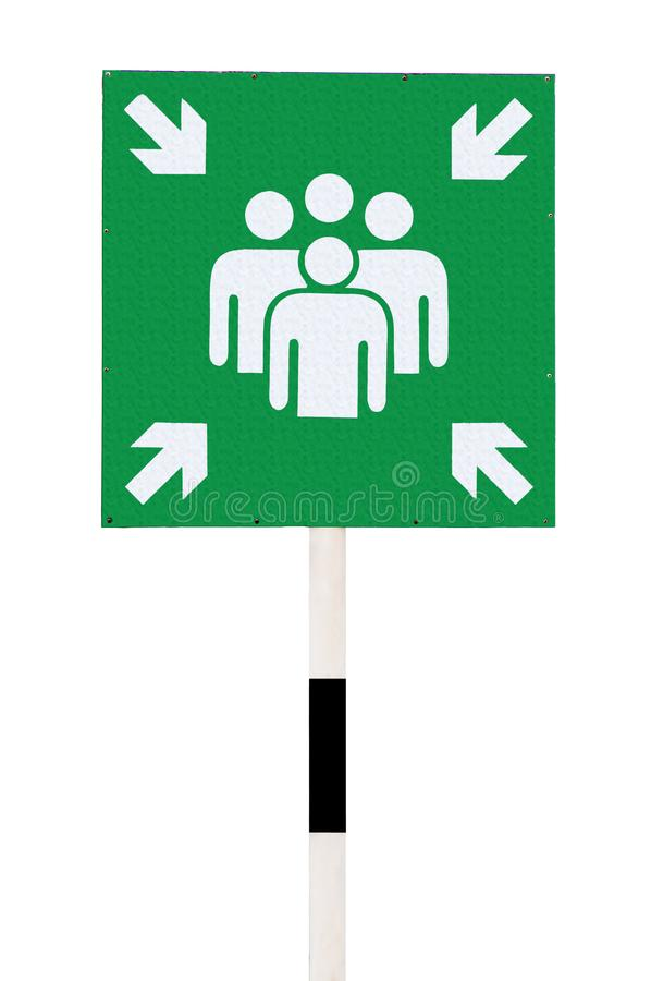 A emergency assembly point green sign stock illustration