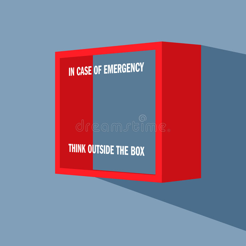 Emergency box on the wall. Emergency box on the wall with punning inscription on it - In case of emergency think outside the box vector illustration