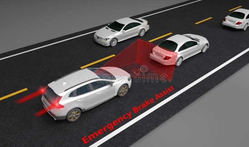 Emergency Braking Assist EBA sysyem to avoid car crash concept. Smart Car technology, 3D rendering image vector illustration