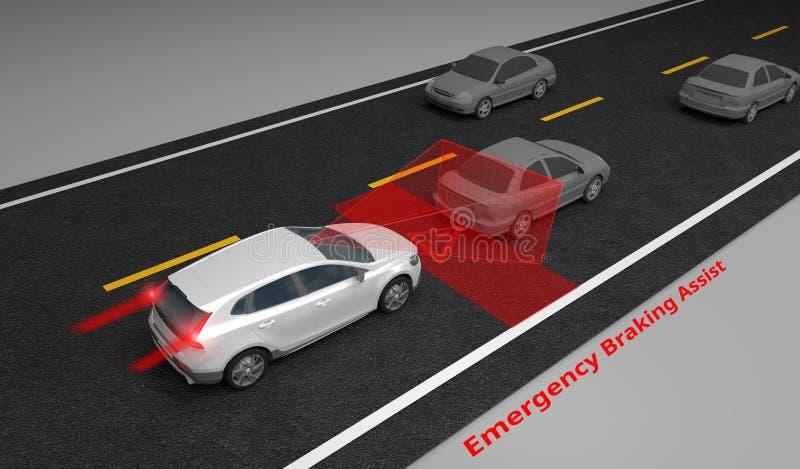 Emergency Braking Assist EBA sysyem to avoid car crash concept. Smart Car technology, 3D rendering. Image royalty free illustration