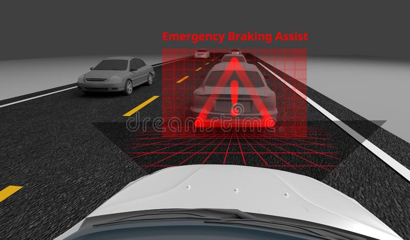 Emergency Braking Assist EBA sysyem to avoid car crash concept. Smart Car technology, 3D rendering. Image stock illustration