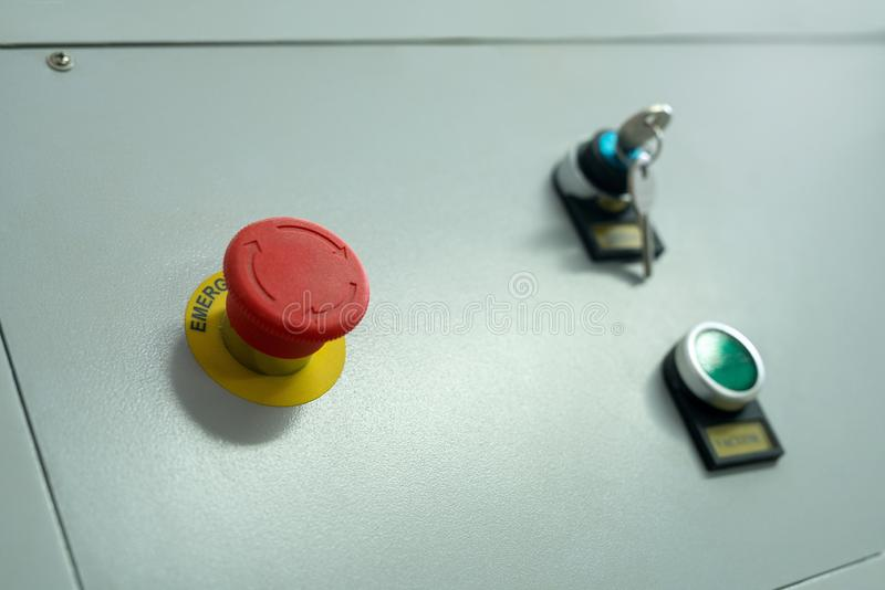 Emergency button on industrial machine stock photos