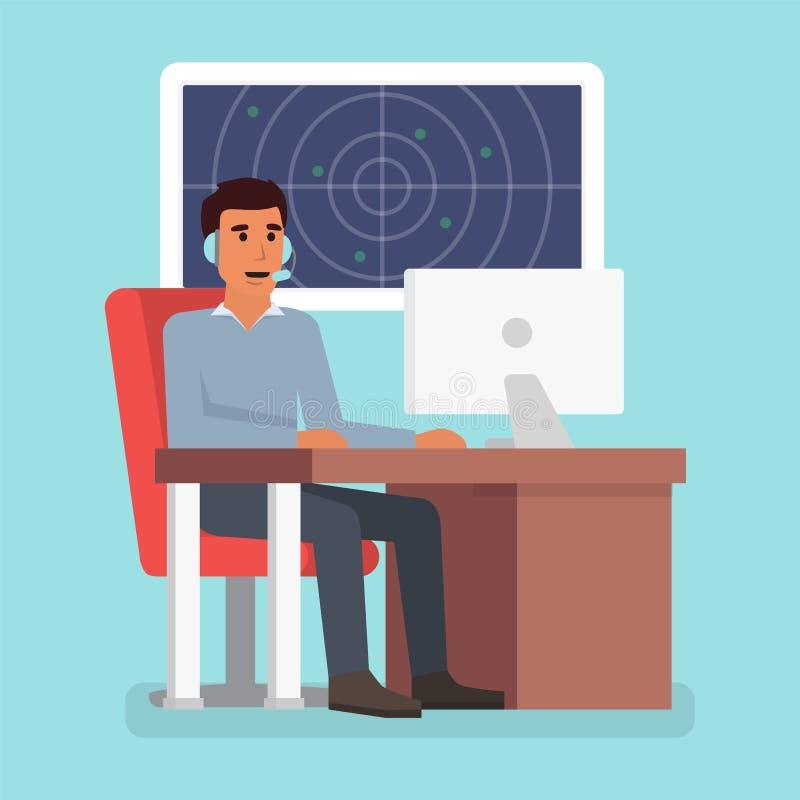Emergency call center online support. Phone operator. Flat design illustration. Emergency call center online support. Phone operator. Flat design vector vector illustration
