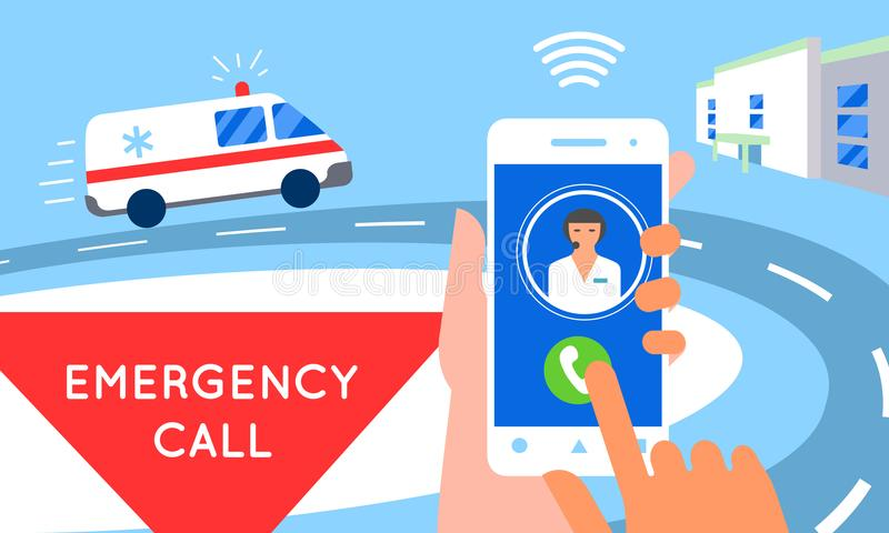 Emergency call concept illustration. Ambulance service car. Emergency call concept illustration. Ambulance car, hands dialing number ambulance service operator vector illustration