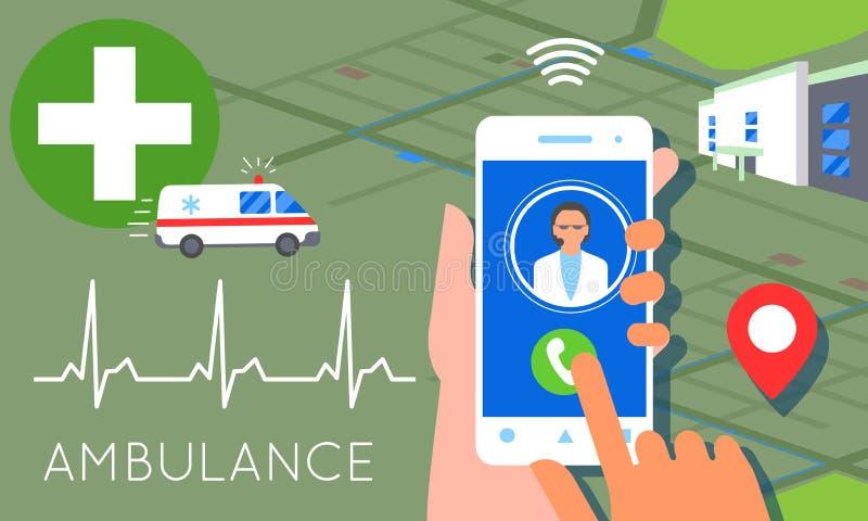 Emergency call concept illustration. Ambulance service car. Emergency call concept illustration. Ambulance car, hands dialing number ambulance service operator royalty free illustration
