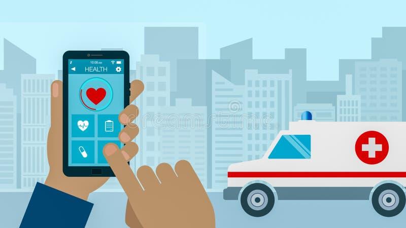 Emergency call concept. Emergency call, concept of medicine and new technologies, cartoon, flat style stock illustration