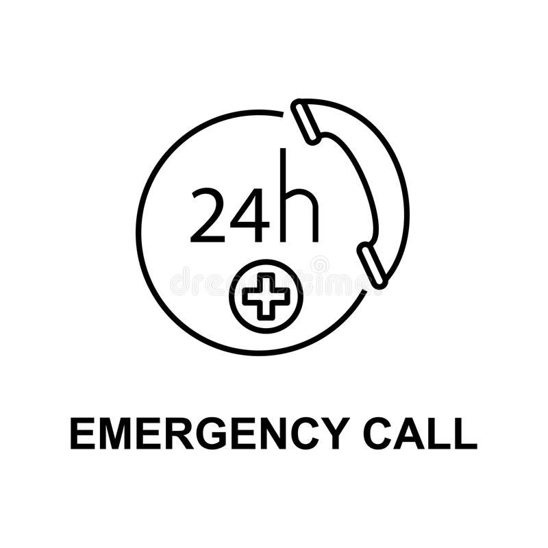 Emergency call icon. Element of treatment with name for mobile concept and web apps. Thin line emergency call icon can be used for. Web and mobile. Premium icon royalty free illustration