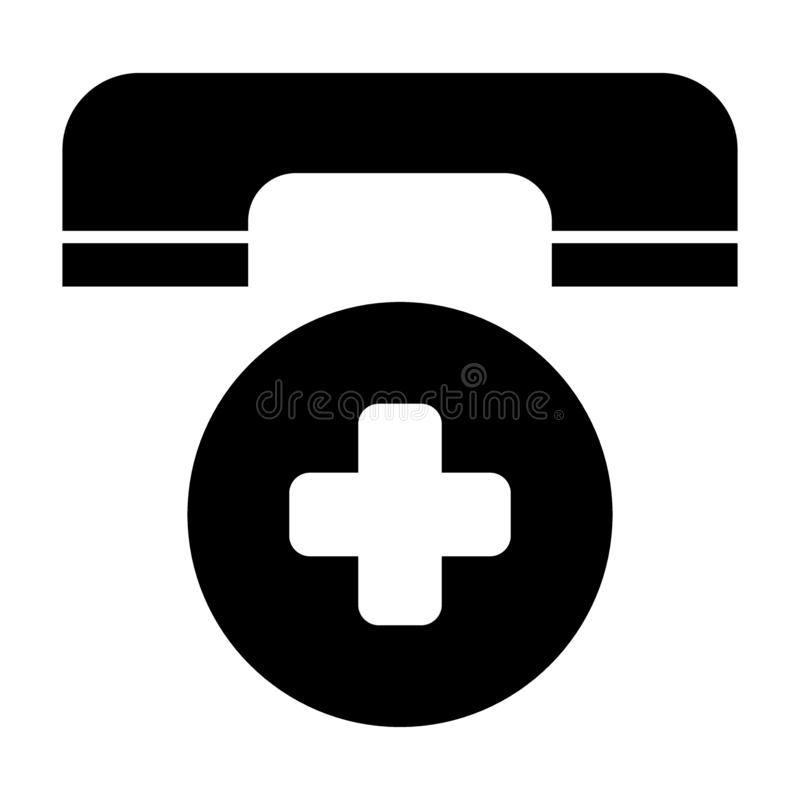 Emergency call solid icon. Ambulance phone symbol vector illustration isolated on white. Telephone and cross glyph style stock illustration