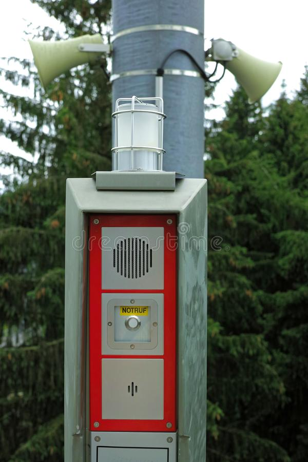 Emergency call station with megaphones in forest stock photography