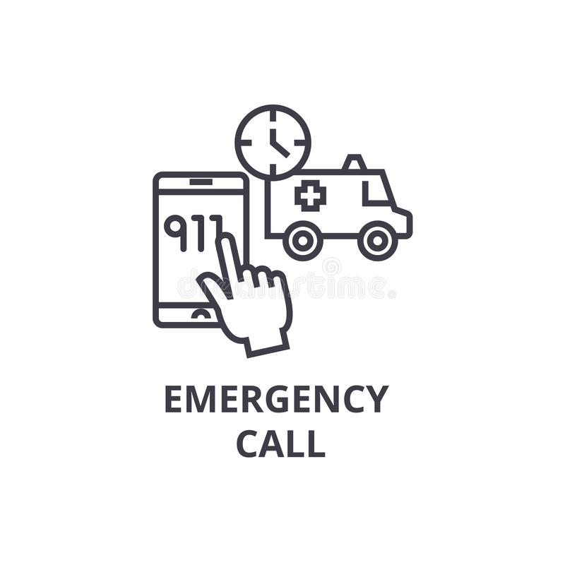 Emergency call thin line icon, sign, symbol, illustation, linear concept, vector. Emergency call thin line icon, sign, symbol, illustation, linear concept vector royalty free illustration