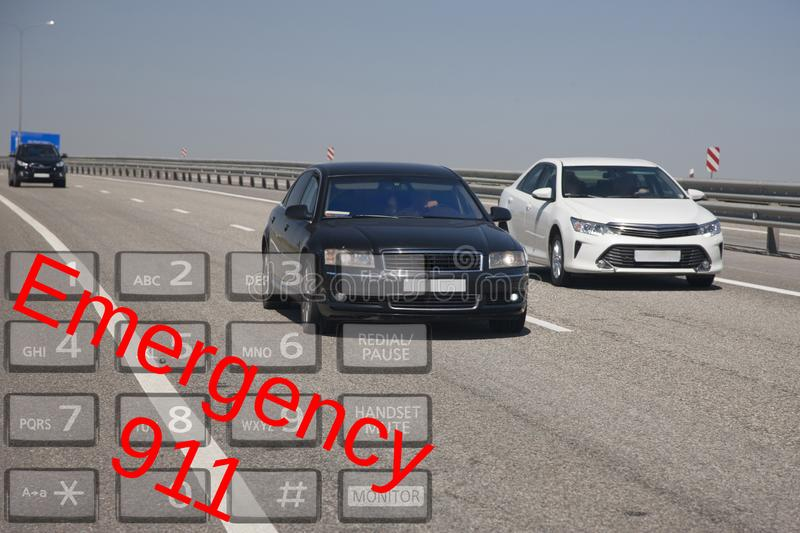 Emergency call use by phone. Concept car accidents and emergency. close up stock photos