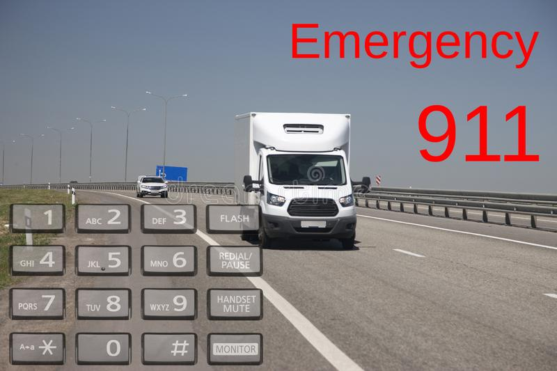 Emergency call use by phone. Concept car accidents and emergency. close up. Limited depth of field royalty free stock photography
