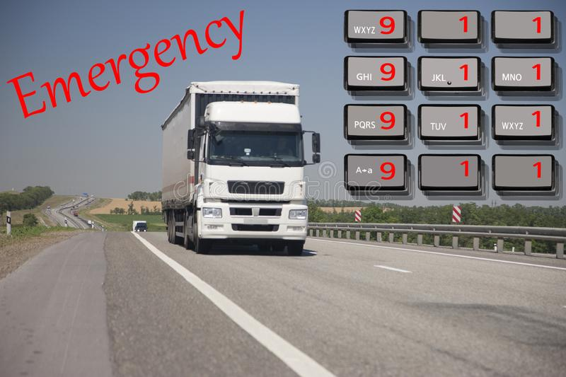 Emergency call use by phone. Concept car accidents and emergency. close up. Limited depth of field stock photography