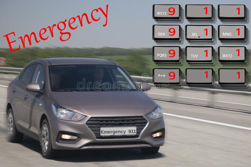 Emergency call use by phone. Concept car accidents and emergency. close up. Limited depth of field stock photos