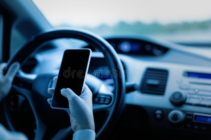 Emergency call use by smartphone, Emergency concept stock image