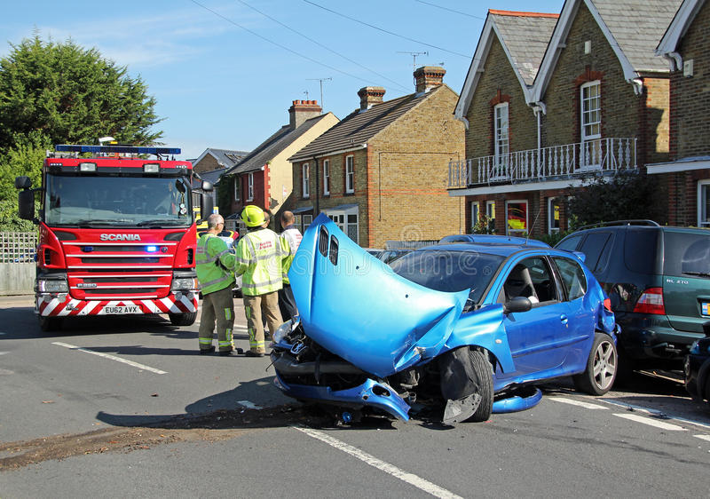 Emergency car accident scene stock photography