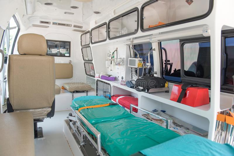 Emergency car inside. Refer car of hospital, inside of emergency car royalty free stock photos