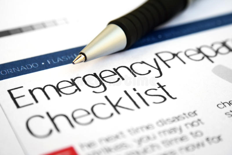 Emergency checklist stock photography