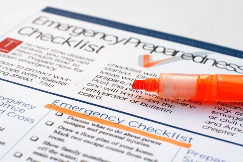 Emergency checklist royalty free stock image