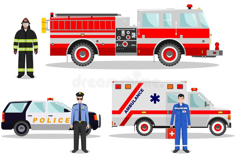 Emergency concept. Detailed illustration of firefighter, doctor, policeman with fire truck, ambulance and police car in stock illustration