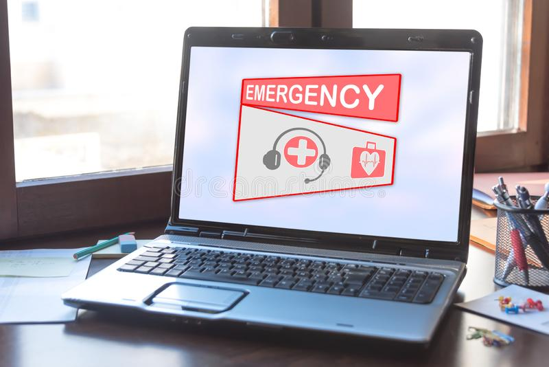 Emergency concept on a laptop screen. Laptop screen displaying an emergency concept stock illustration