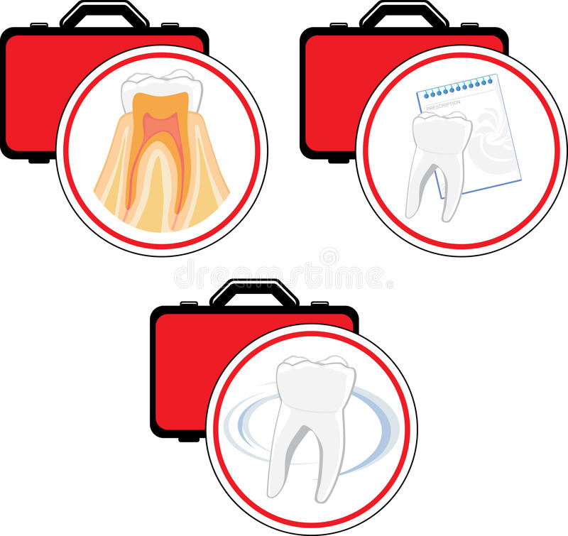 Emergency dental care. Icons stock photography
