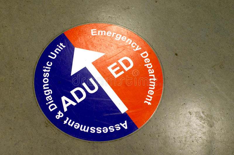 Emergency department sign. Emergency department, ED, and Assessment and diagnostic unite on hospital floor sign royalty free stock photos