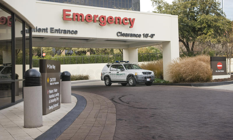 Emergency Entrance With Security Vehicle stock images