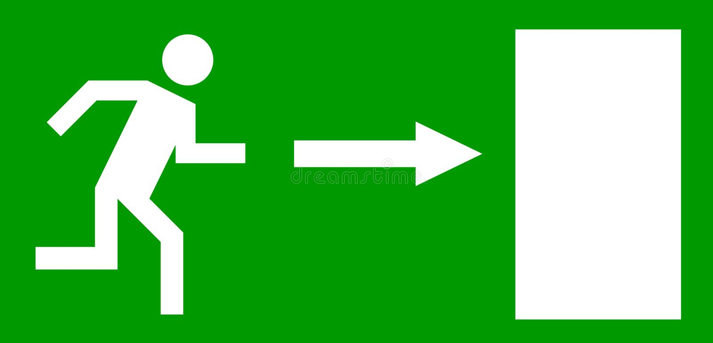 Emergency exit door stock illustration
