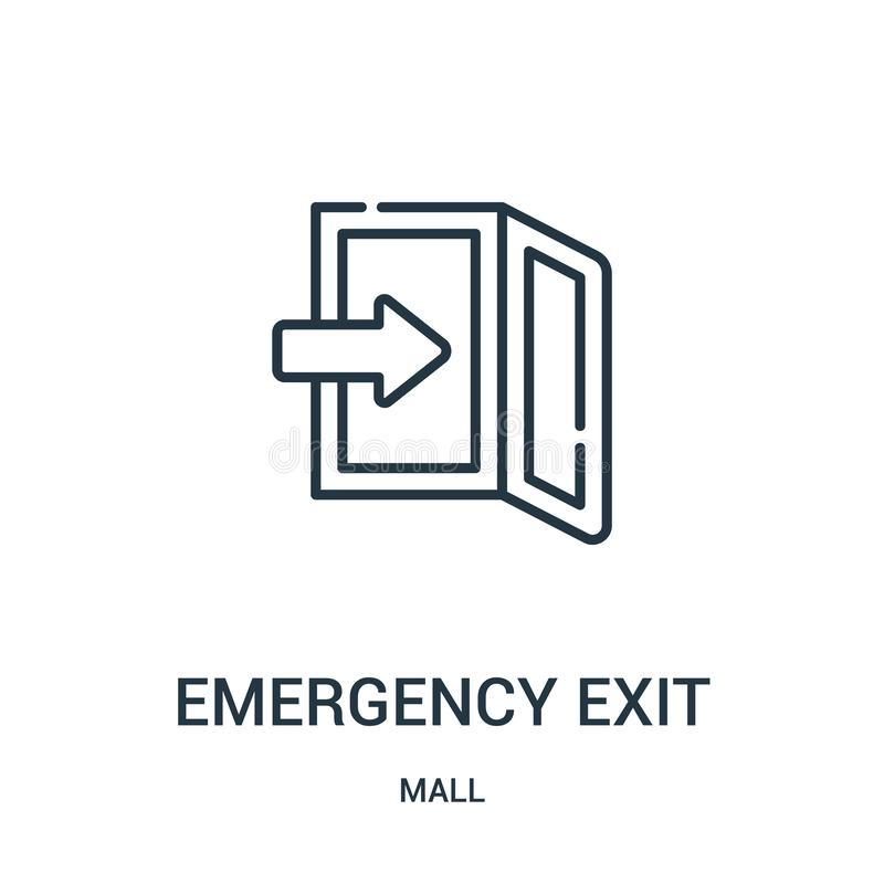 emergency exit icon vector from mall collection. Thin line emergency exit outline icon vector illustration. Linear symbol for use royalty free illustration