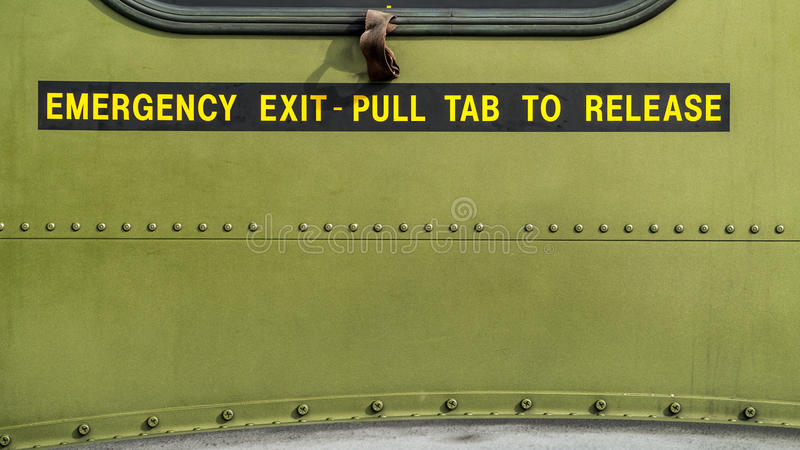 Emergency Exit - Pull Tab To Release Stock Images