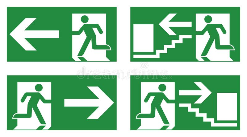 Emergency exit safety sign. White running man icon on green back vector illustration