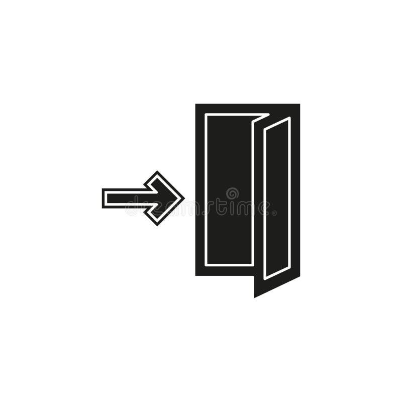Emergency exit sign, exit door icon, exit strategy - door entrance stock illustration