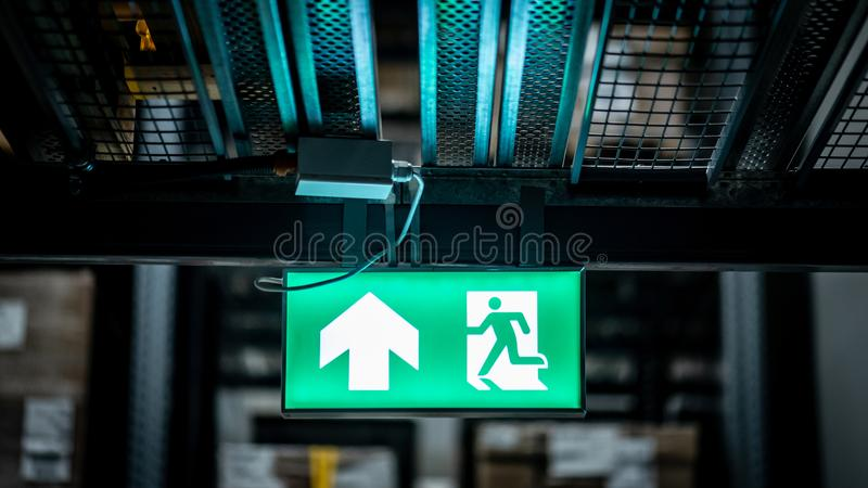 Emergency exit sign or fire exit sign stock photography