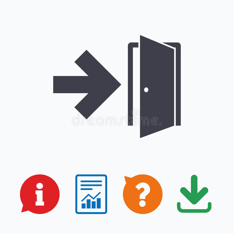Emergency exit sign icon. Door with right arrow royalty free illustration
