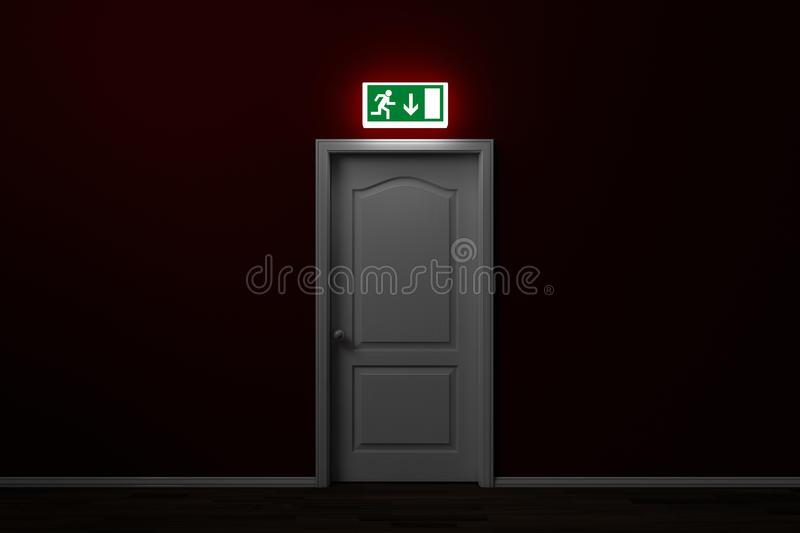 Emergency exit with sign over door vector illustration