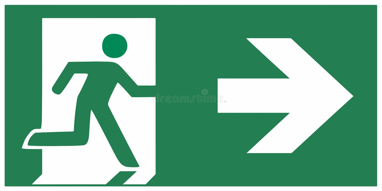 Emergency exit sign right - emergeny exit vector illustration vector illustration