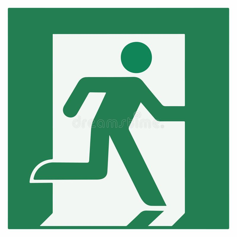 Emergency exit sign right - emergeny exit vector illustration stock illustration