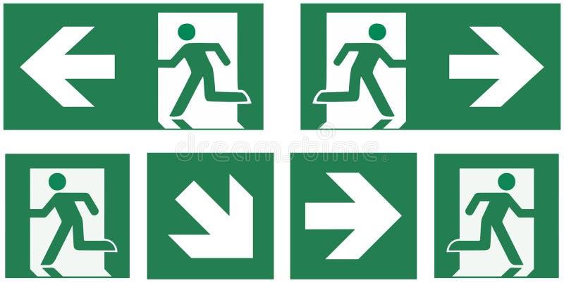 Emergency exit sign set - pictogram vector illustration - stock illustration