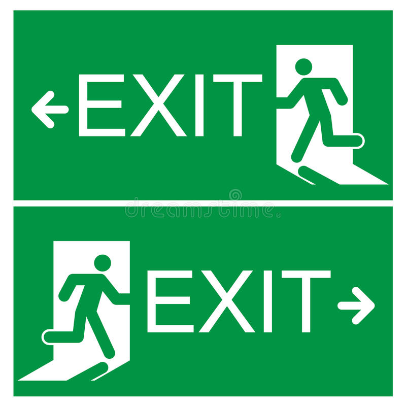 emergency exit sign royalty free illustration