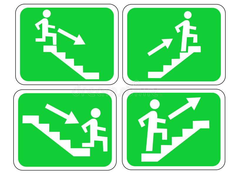 Emergency exit signs royalty free illustration