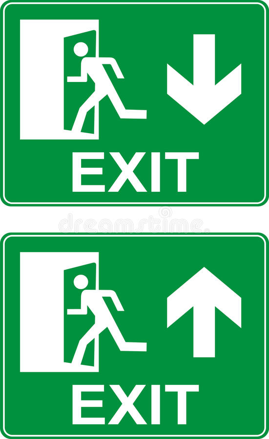 Emergency exit up and down signs. royalty free illustration